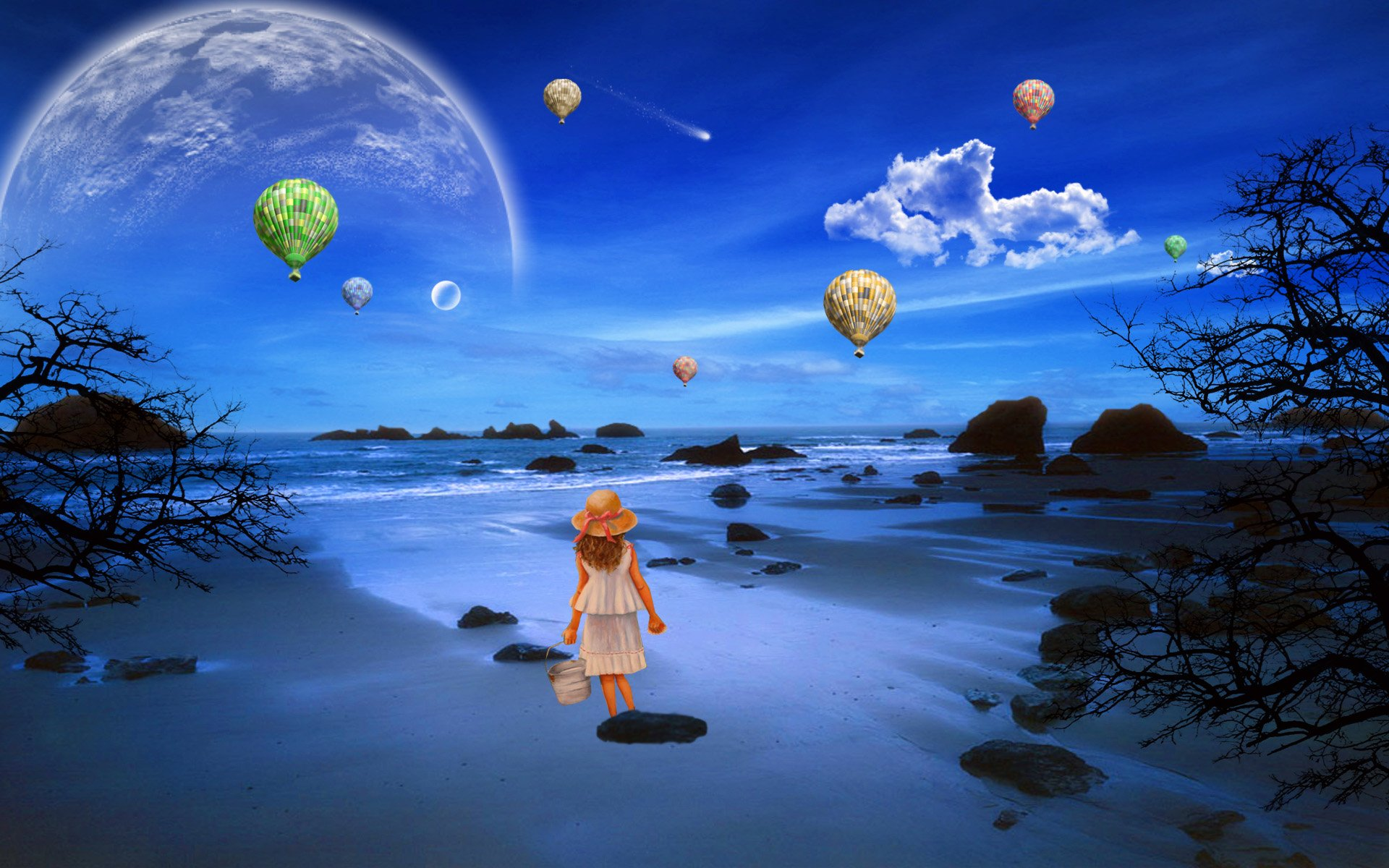 Fantasy - Child  Fantasy Beach Little Girl Hot Air Balloon Planet Tree Ocean Wallpaper