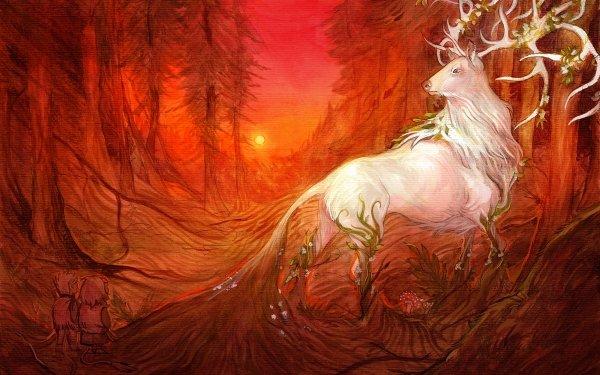 Fantaisie Cerf Animaux Fantastique orange Forêt Fond d'écran HD   Arrière-Plan