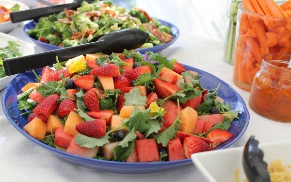 Alimento Fruta Frutas Plate Fresa Melon Arándano Carrot Sandía Fondo de pantalla HD | Fondo de Escritorio