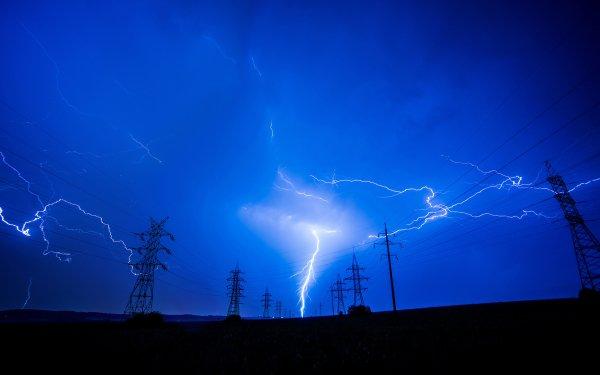 Photography Lightning Power Line Night Blue Sky HD Wallpaper | Background Image