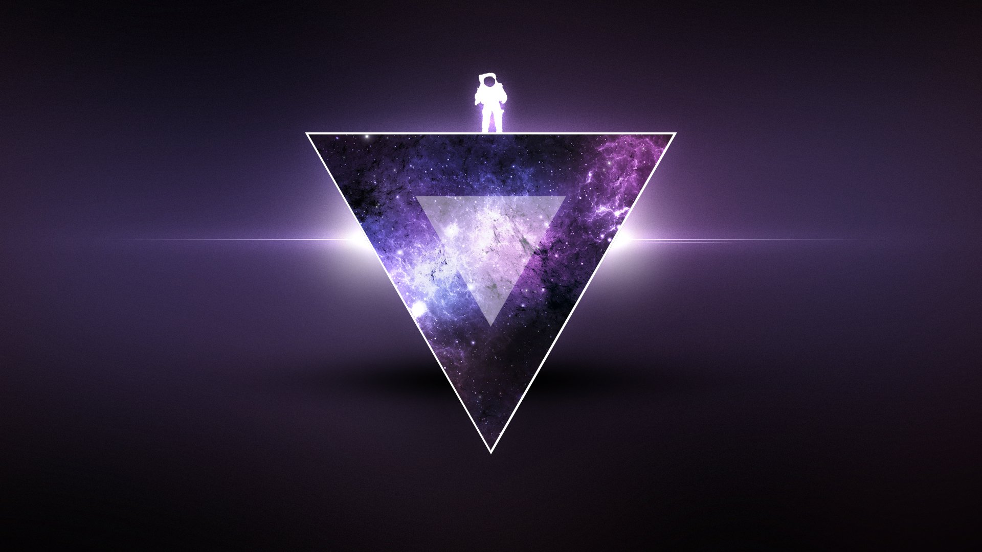 Sci Fi - Triangle  Astronaut Purple Wallpaper