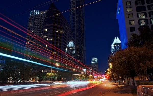 Man Made Austin Cities United States USA Texas City Time-Lapse Night Building Skyscraper HD Wallpaper   Background Image