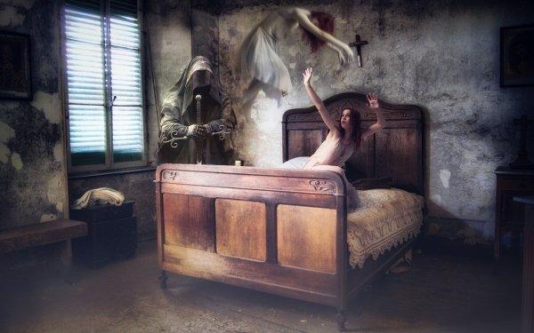 Dark Death Bed Woman Room Ghost Grim Reaper HD Wallpaper | Background Image