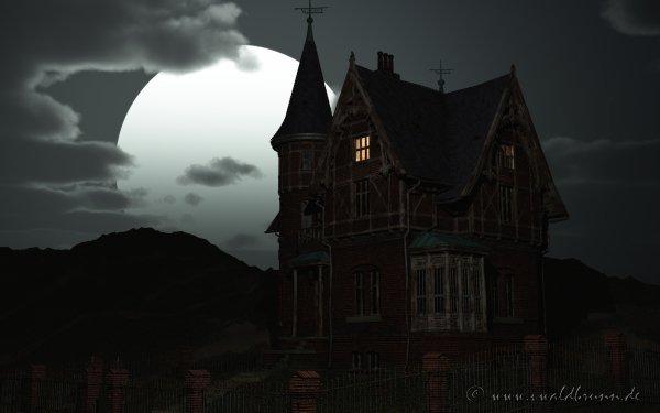 Dark House Artistic Night Moon Creepy HD Wallpaper | Background Image