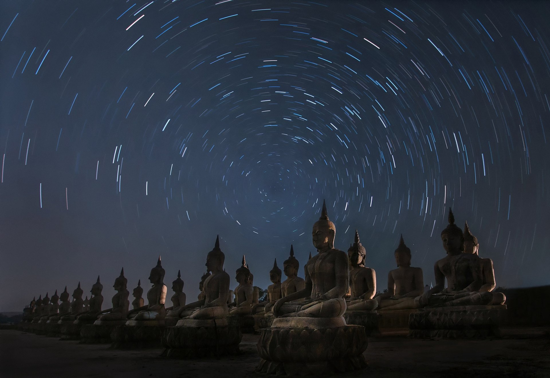 Religious - Buddha  Statue Night Starry Sky Time-Lapse Thailand Wallpaper