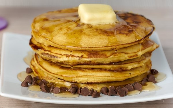 Food Pancake Breakfast Butter Chocolate Syrup HD Wallpaper | Background Image