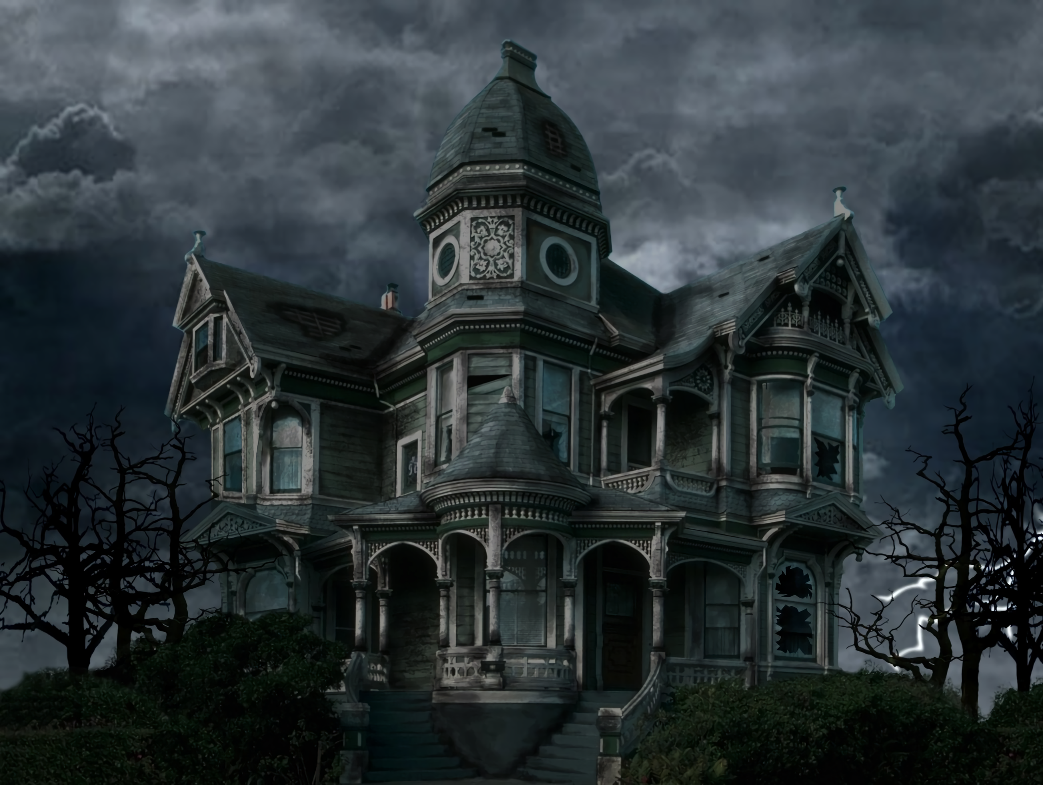 Dark Clouds Over Old Victorian House HD Wallpaper