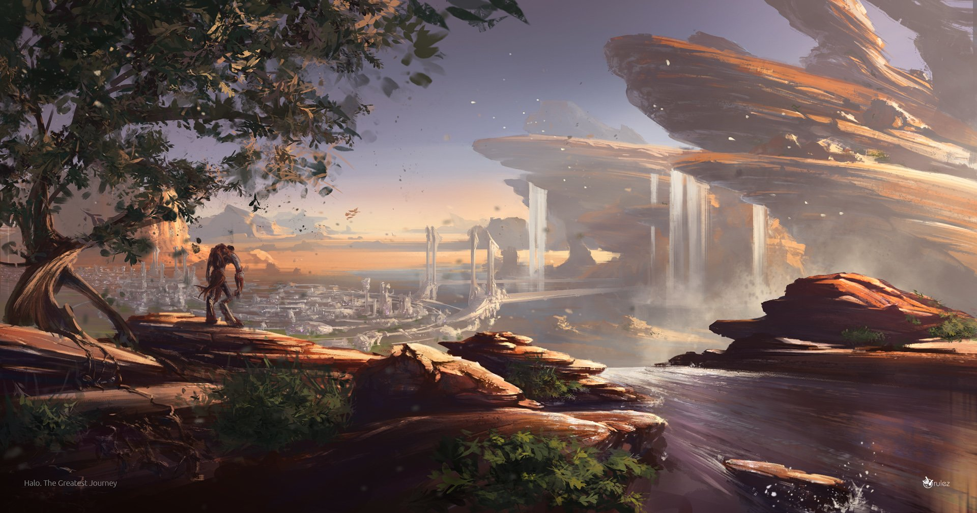Video Game - Halo  Artistic Landscape Waterfall Wallpaper