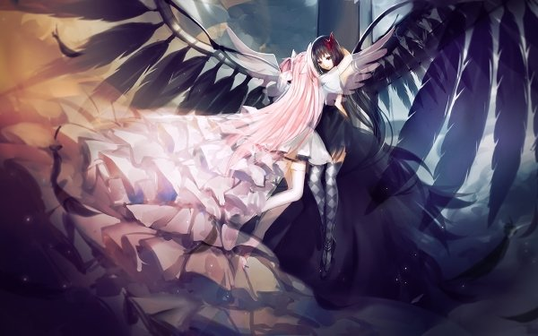 Anime Puella Magi Madoka Magica Angel Pink Hair Long Hair Homura Akemi Ultimate Madoka Madoka Kaname Homura Akuma HD Wallpaper | Background Image