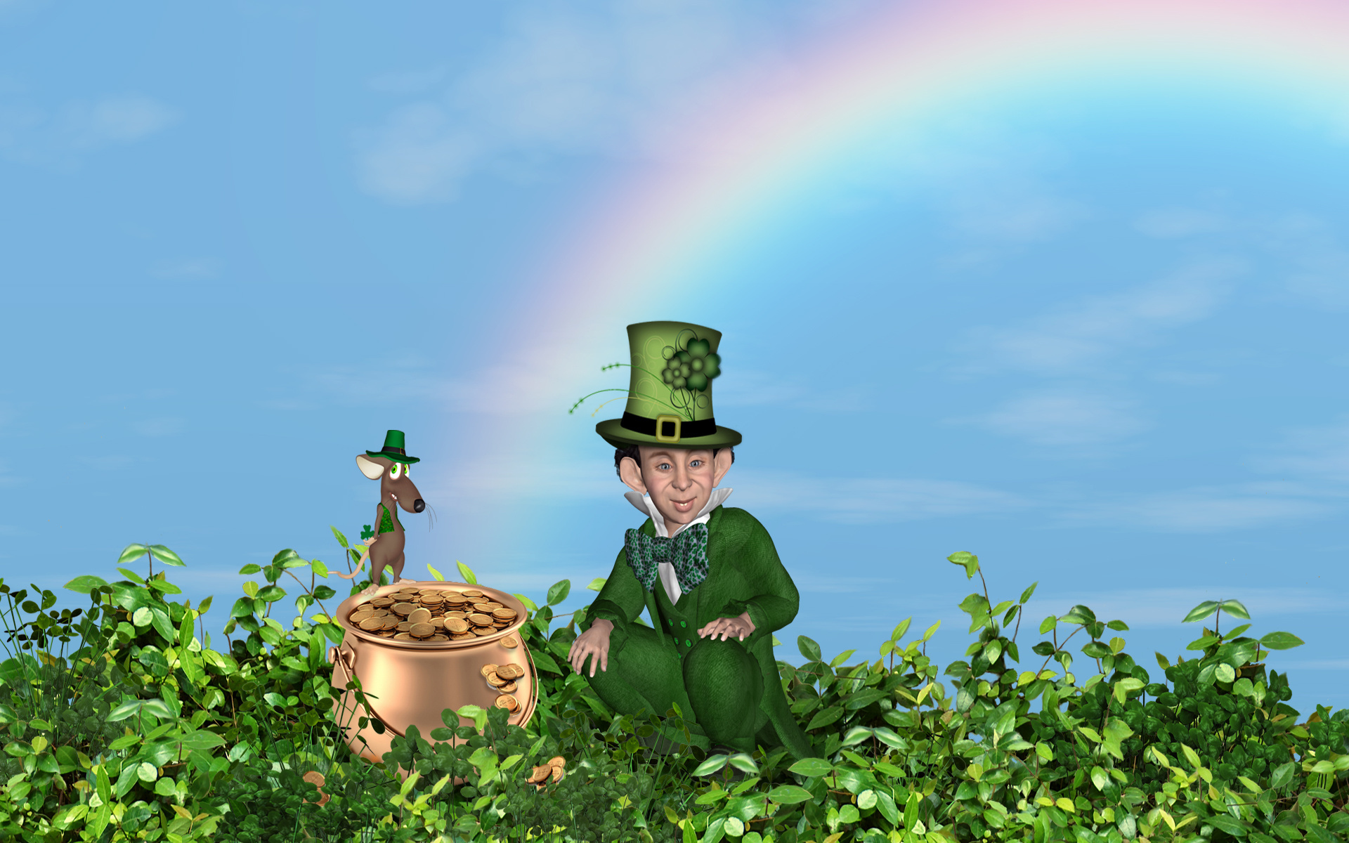 Leprechaun And A Pot Of Gold Full HD Wallpaper Background Image