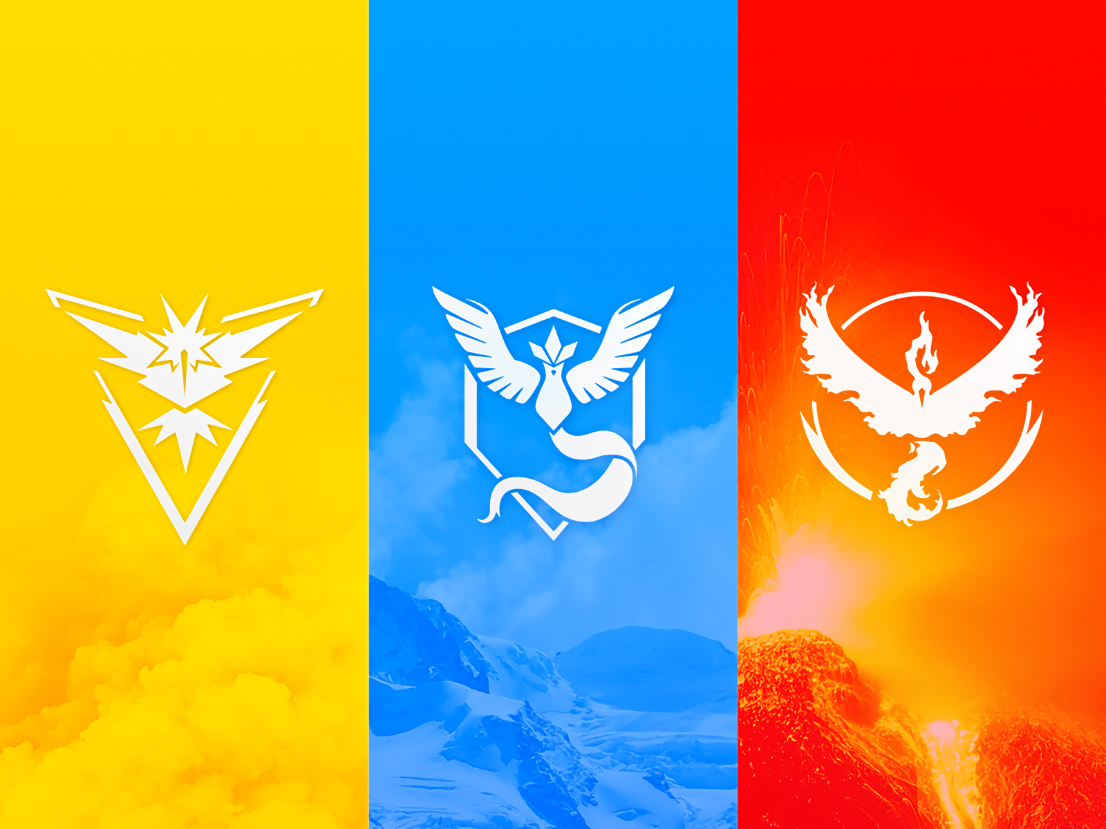 Vídeo Game - Pokémon GO  Pokemon Go Team Instinct Team Valor Team Mystic Papel de Parede