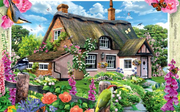 Artistic House Fairy Tale Garden Colorful HD Wallpaper | Background Image