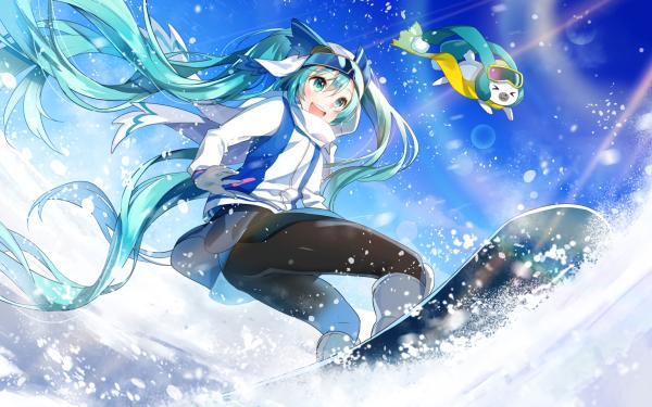 Anime Vocaloid Hatsune Miku Long Hair Snowboarding HD Wallpaper | Background Image