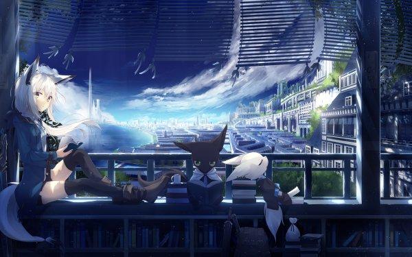 Anime Original Chica Pintoresco Kitsune Espada Cielo Cityscape Fondo de pantalla HD | Fondo de Escritorio