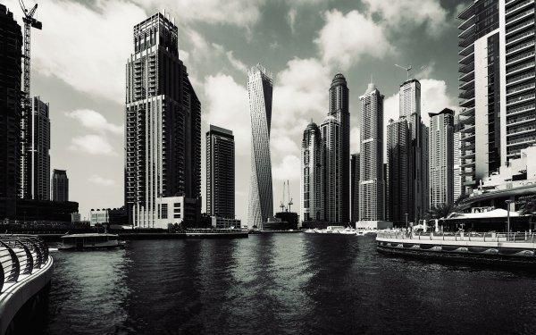 Man Made Dubai Cities United Arab Emirates Skyscraper Cityscape City Black & White HD Wallpaper | Background Image