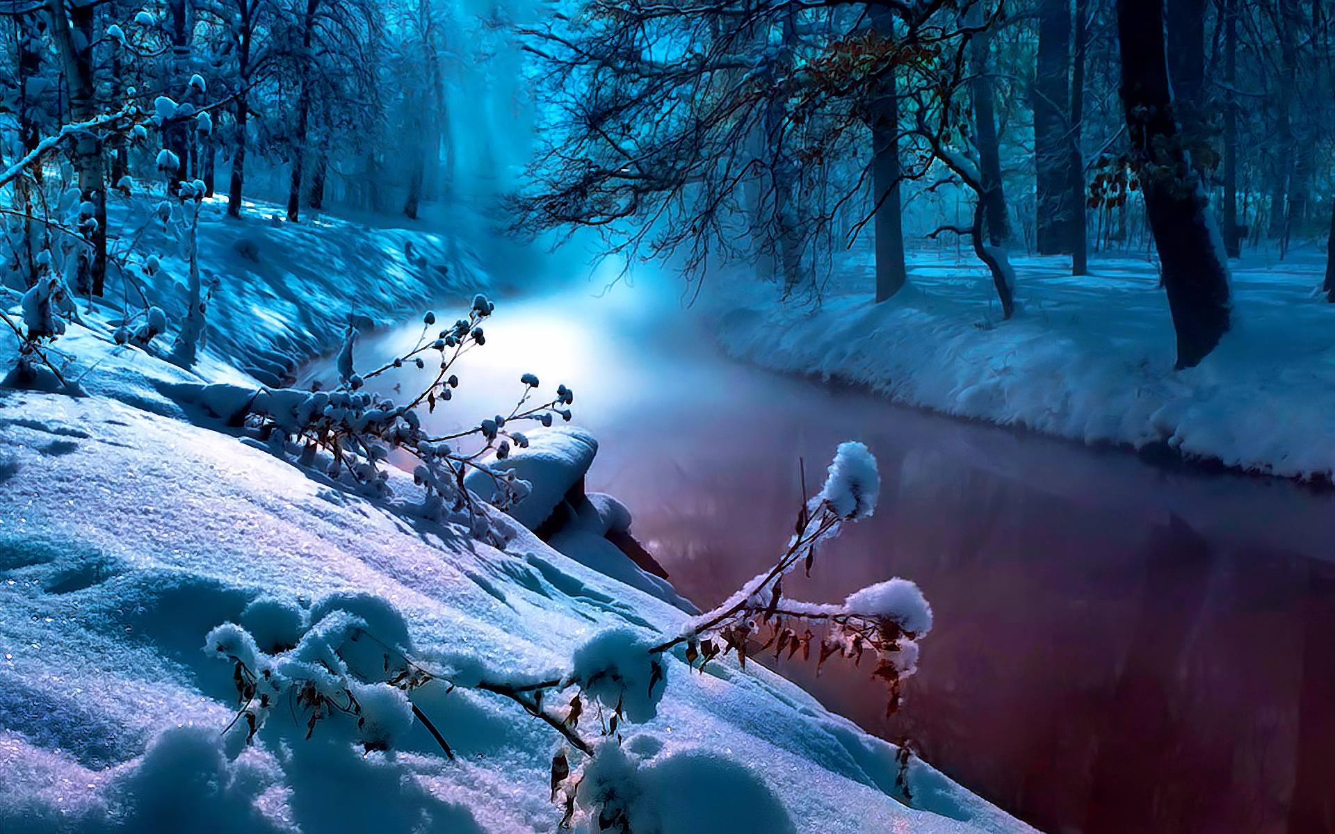 Earth - Winter  Earth Fog River Snow Tree Blue Wallpaper