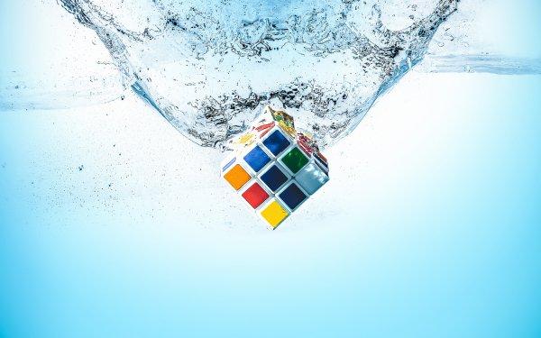 Spel Rubik's Cube Water Splash HD Wallpaper | Background Image