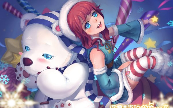 Video Game League Of Legends Annie Tibbers Bear Blue Eyes Red Hair HD Wallpaper | Background Image
