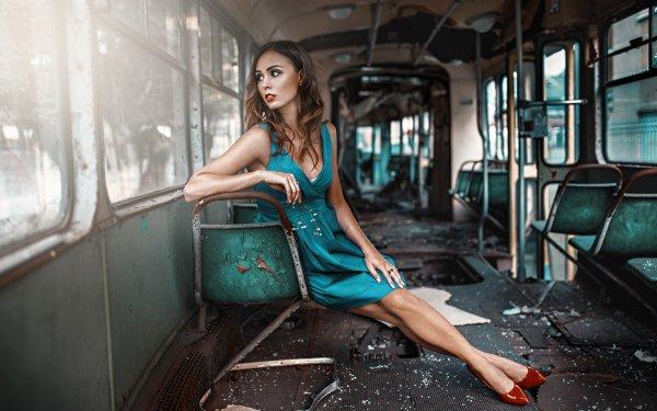 Women Model Models Blue Dress Brunette Lipstick Brown Eyes HD Wallpaper | Background Image