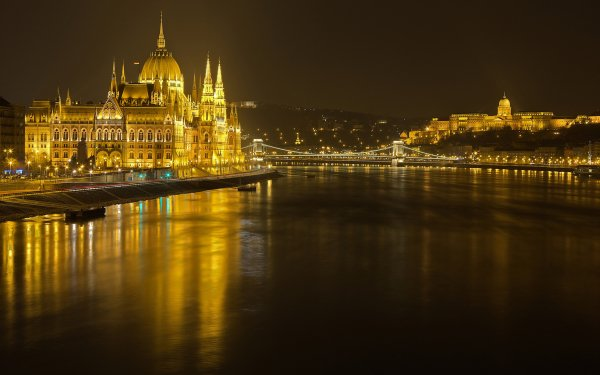 Man Made Hungarian Parliament Building Monuments Budapest Hungary Danube Light Night Chain Bridge HD Wallpaper | Background Image