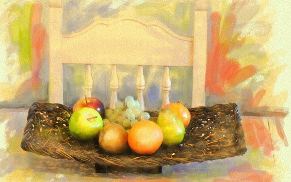 Artistic Painting Fruit Chair Basket Colors Watercolor HD Wallpaper | Background Image