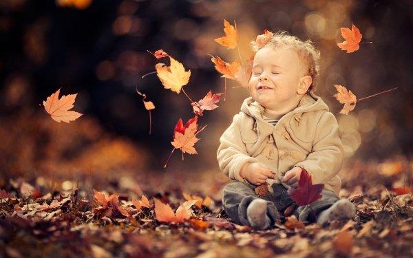 Photography Child Little Boy Cute Leaf Fall Bokeh HD Wallpaper | Background Image