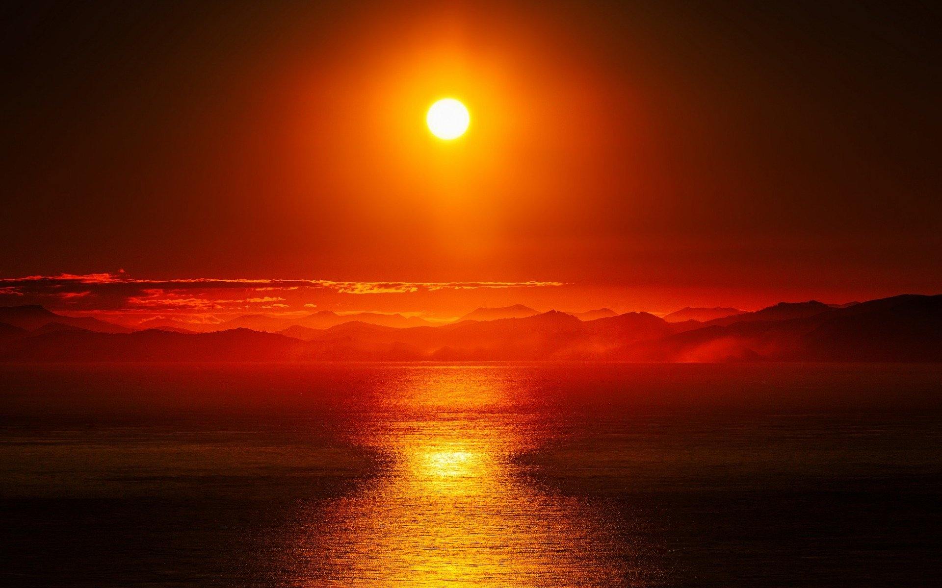 Earth - Sunset  Earth Ocean Reflection Sunbeam Sun Orange Wallpaper