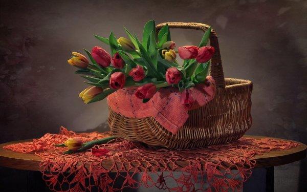 Photography Still Life Flower Tulip Picnic Basket Basket Pink Flower Yellow Flower HD Wallpaper | Background Image