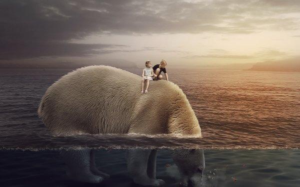 Fantasy Child Polar Bear Little Girl Ocean Giant Little Boy HD Wallpaper | Background Image
