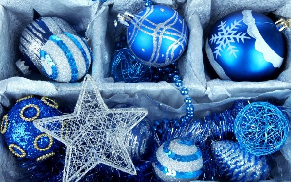 Holiday Christmas Christmas Ornaments Blue Silver Star HD Wallpaper | Background Image