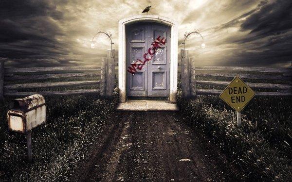 Dark Death Door Raven Sign HD Wallpaper | Background Image