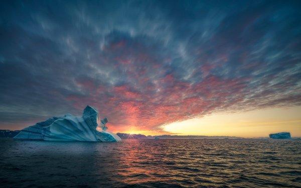 Earth Iceberg Glacier Ocean Sea Greenland Sunset Cloud HD Wallpaper   Background Image