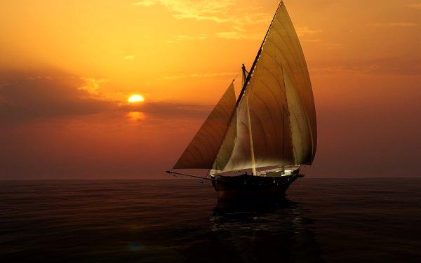 Vehicles Sailboat Boat Sailing Sunset Sky HD Wallpaper | Background Image