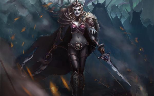 Video Game World Of Warcraft Warcraft Fantasy Woman Warrior Armor Sword Sylvanas Windrunner HD Wallpaper | Background Image