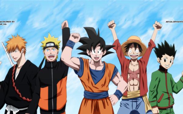 Anime Crossover Naruto Uzumaki Monkey D. Luffy Ichigo Kurosaki Gon Freecss Goku Naruto One Piece Bleach Hunter x Hunter Dragon Ball Dragon Ball Z Fond d'écran HD | Arrière-Plan
