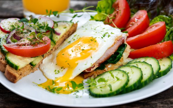 Food Meal Egg Cucumber Tomato HD Wallpaper | Background Image