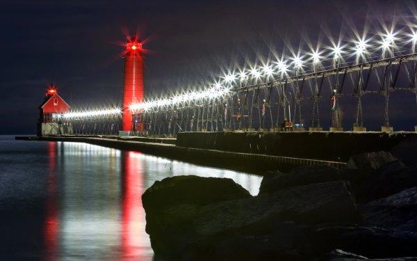 Man Made Lighthouse Buildings Night Light Pier HD Wallpaper | Background Image