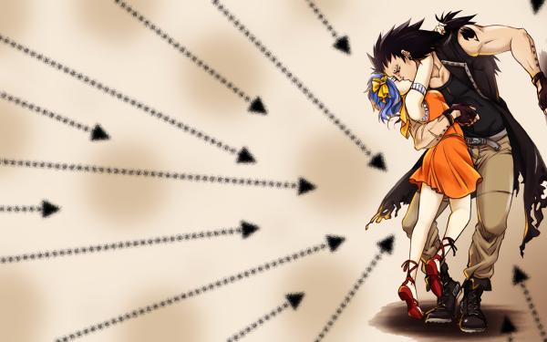Anime Fairy Tail Levy McGarden Gajeel Redfox Blue Hair Black Hair Kiss Dress Orange Dress Short Hair Long Hair Boots Belt Coat Glove Fond d'écran HD | Image