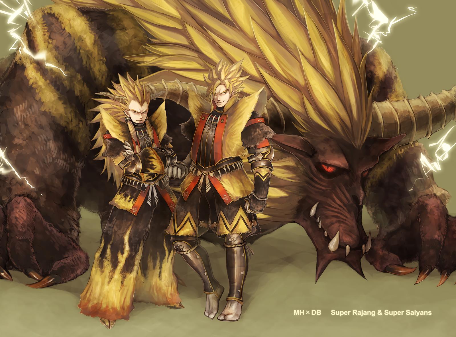 Anime - Crossover  Dragon Ball Z Rajang (Monster Hunter) Super Saiyan Vegeta (Dragon Ball) Goku Monster Hunter Wallpaper