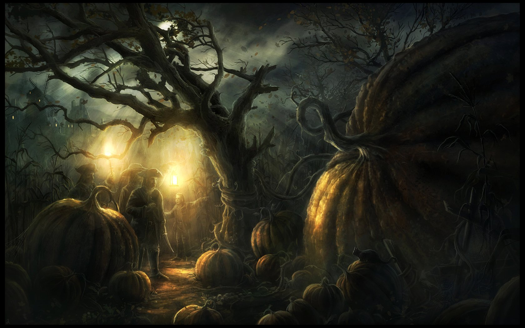 Dark - Forest  Pumpkin Citrouilles Géantes Night Wallpaper