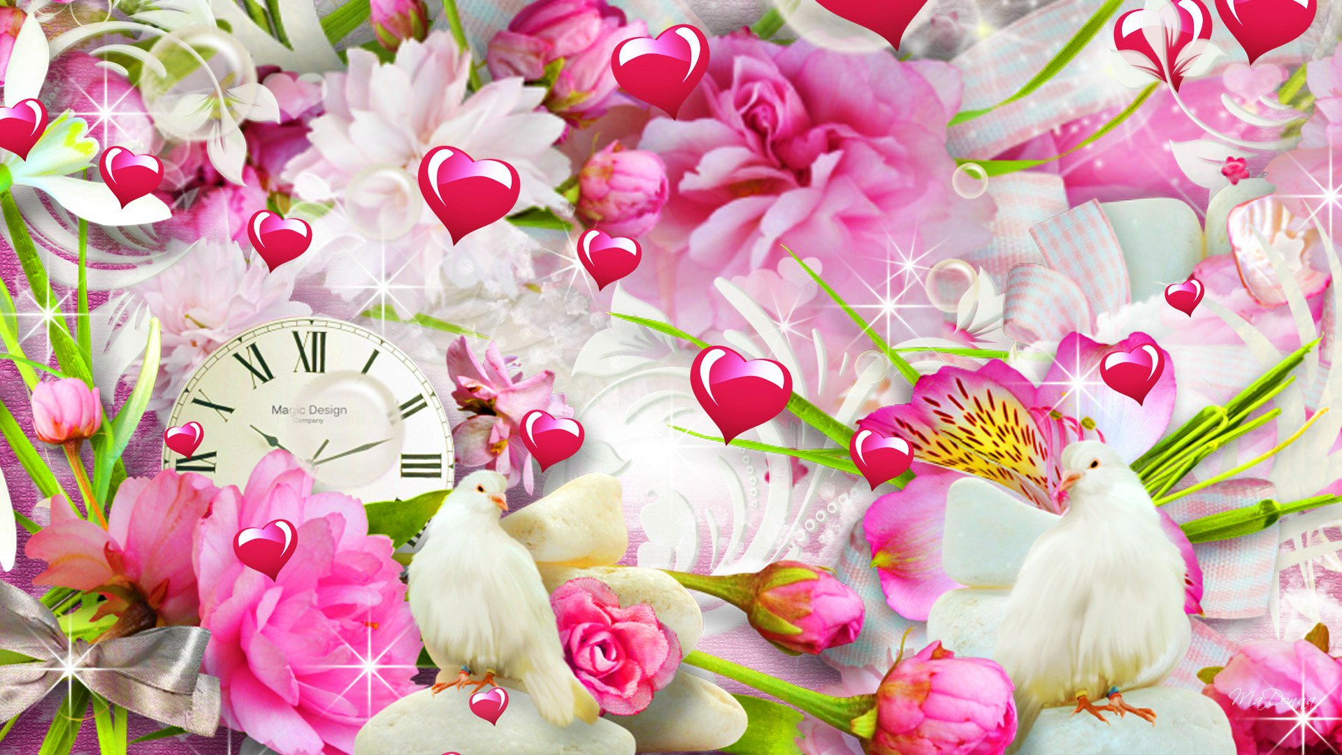 Hearts And Flowers HD Wallpaper
