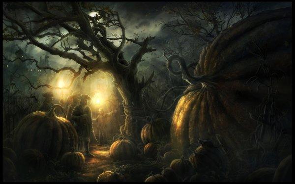Sombre Forest Citrouille Citrouilles Géantes Nuit Fond d'écran HD | Arrière-Plan