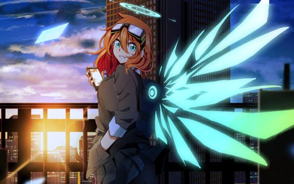 Anime Angel Redhead Blue Eyes Wings Sunset Smartphone Skirt HD Wallpaper | Background Image