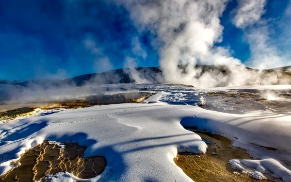 Earth Geyser Nature Winter Snow HD Wallpaper | Background Image