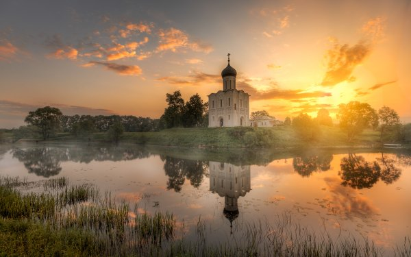 Religious Church Churches Lake Sunrise Reflection Building HD Wallpaper | Background Image