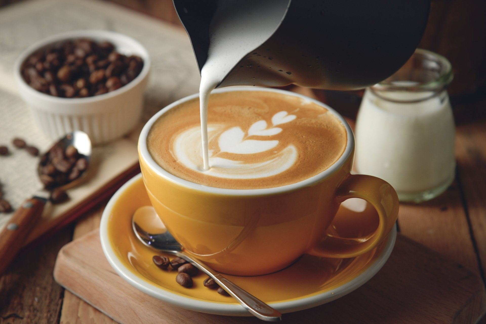 Food - Coffee  Cup Coffee Beans Milk Wallpaper