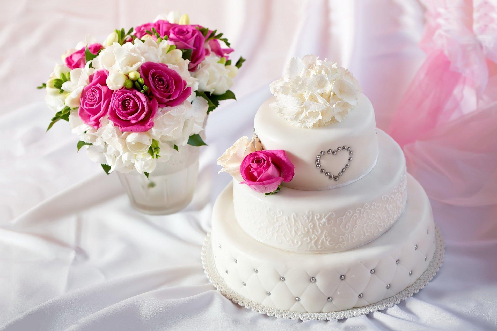 Food - Cake  Wedding Cake Flower Pastry White Flower Pink Flower Wallpaper
