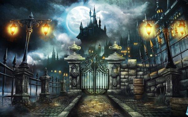 Fantasi Slott Helgdag Gate Lantern Månen Night HD Wallpaper | Background Image