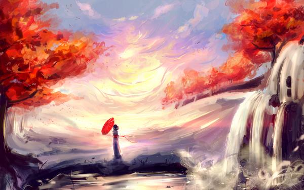 Anime Original Otoño Cascada Fondo de pantalla HD | Fondo de Escritorio