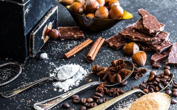 Food Still Life Hazell Hazelnut Chocolate Coffee Beans Star Anise Sugar HD Wallpaper | Background Image